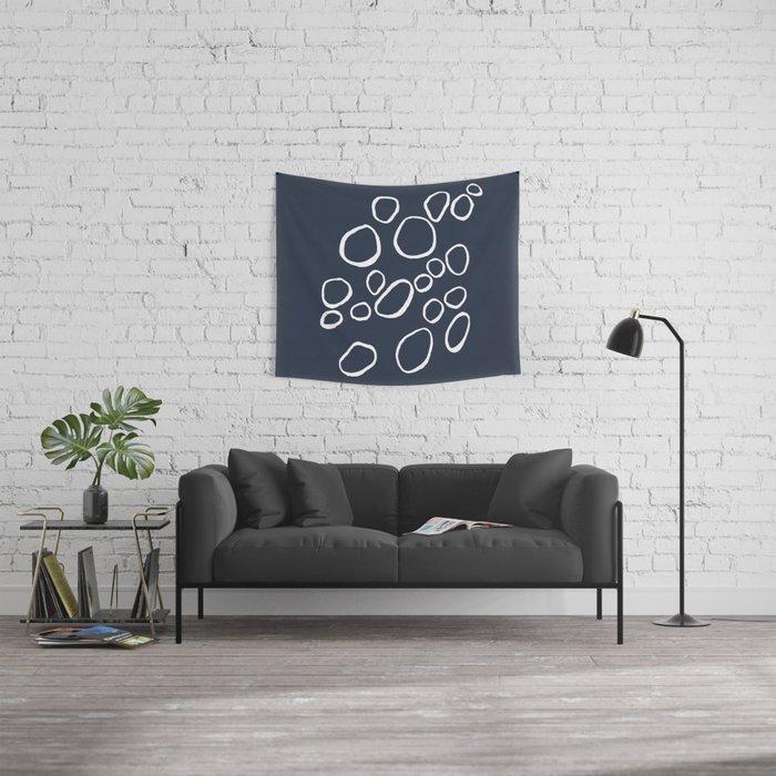 Daisy Circles Navy Wall Tapestry