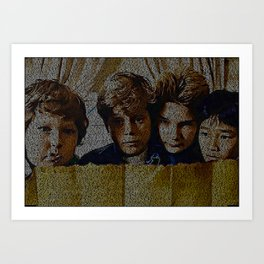 Text Portrait of Mikey, Chunk, Mouth and Data with full script of the movie The Goonies Art Print