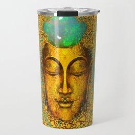 JADE GREEN PRECIOUS FIRE OPAL GEMS GOLD BUDDHA Travel Mug
