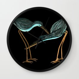 Sandpipers in Teal Blue Wall Clock