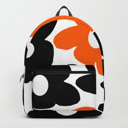 Large Orange and Black Retro Flowers White Background #decor #society6 #buyart Backpack