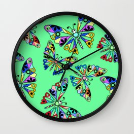Colorful butterfly kids childish cartoon green background Wall Clock