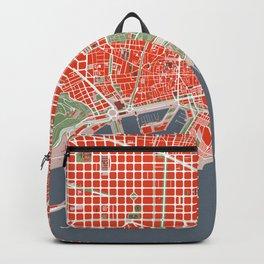 Barcelona city map classic Backpack