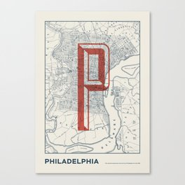Vintage map - Philadelphia 1858 Canvas Print