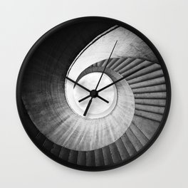 Spirals  in black and while Wall Clock