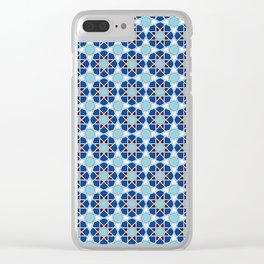 Islamic geometric Moroccan pattern in blue Clear iPhone Case