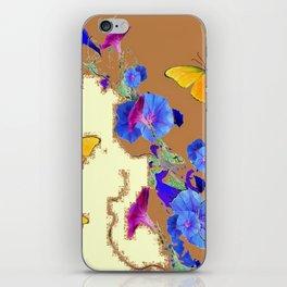 Coffee & Cream Blue Flowers butterfly Art iPhone Skin