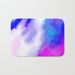 Watercolor-blue,white and pink Bath Mat