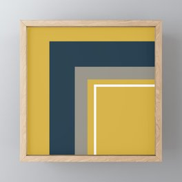Half Frame Minimalist Pattern 3 in Deep Mustard Yellow, Navy Blue, Grey, and White. Framed Mini Art Print