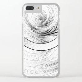 White on Black Circular Fractal of a Jinbaori Samurai Symbol Clear iPhone Case