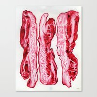 bacon Canvas Prints featuring Bacon by coquettishmish