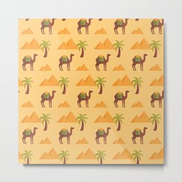 Camels in the desert Metal Print