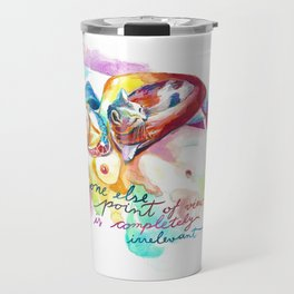 FRIDA KAHLO with cat - Watercolor portrait Travel Mug
