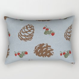 pinecones and forest berries pattern blue Rectangular Pillow