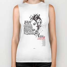 typographic amy Back To Black Biker Tank