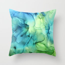 Blue Green Spring Marble Abstract Ink Painting Throw Pillow