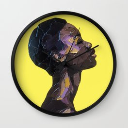 Portrait of Black Woman in yellow background Wall Clock