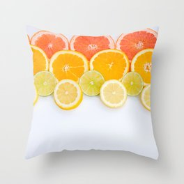 oranges ,grapefruit, and other fruits sliced Throw Pillow