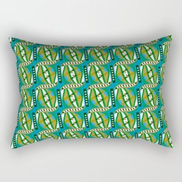 Retro Abstract Wave in Green & Blue + Contemporary Graphic Design Illustration by Limolida Rectangular Pillow