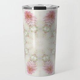 Pink Chrysanthemums Kaleidoscope Art 2 Travel Mug