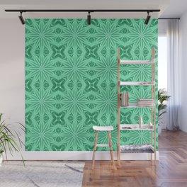 Minty Green Flower Cross Pattern Wall Mural