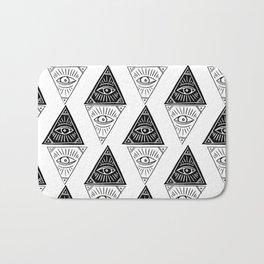 Linocut Pyramid eye black and white symbology pattern Bath Mat