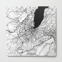 Geneva Map Gray Metal Print