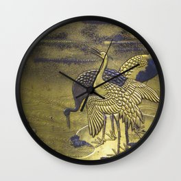 Golden Birds Wall Clock