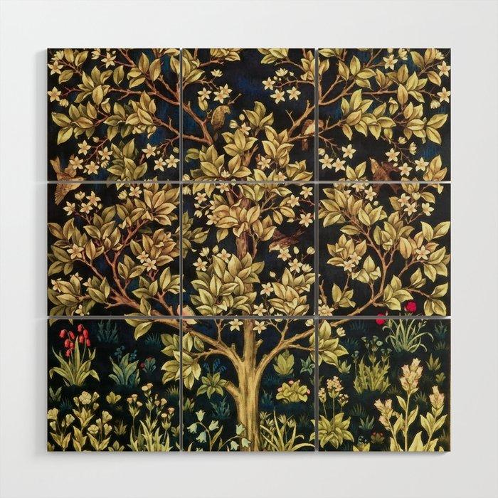 William Morris Tree Of Life Wood Wall Art By Artgallery