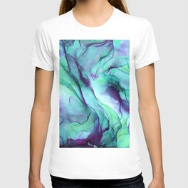 Violet Turquoise Flow - Alcohol Ink Painting T-shirt
