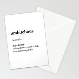 Ambitchous black and white contemporary minimalism typography design home wall decor bedroom Stationery Cards