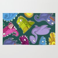 dinosaurs Area & Throw Rugs featuring Dinosaurs by Fabio Leone