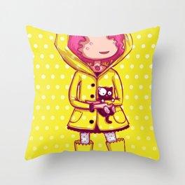 Raining Polka Dots Throw Pillow
