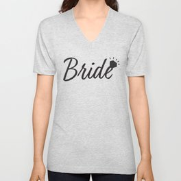 Black Bride text and Diamond ring Unisex V-Neck
