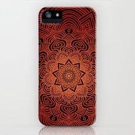 orange burst hippie boho mandala iPhone Case