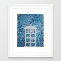 tardis Framed Art Prints featuring Tardis by Sahara Novotny