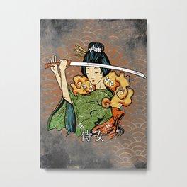 Samurai Woman, Geisha Warrior, Ronin, Gift to Any Martial Arts Girl Metal Print