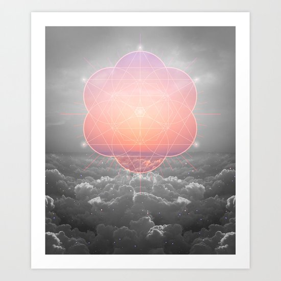 The Sun Is But A Morning Star (Mono Geometric Sunrise) Art Print