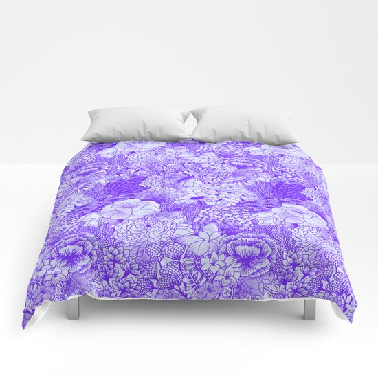Shocking Purple Floral Comforters