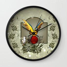 Wonderful parrots Wall Clock