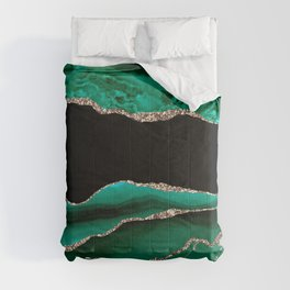 Emerald & Shamrock Green Crushed Velvet Marble & Gold Veins Comforters