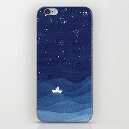 blue ocean waves, sailboat ocean stars iPhone Skin