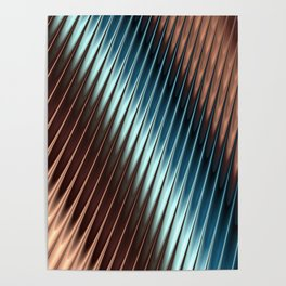 Stripey Pins Teal & Taupe - Fractal Art Poster