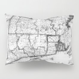 Vintage Map of New England States (1843) BW Pillow Sham
