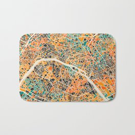 Paris mosaic map #2 Bath Mat