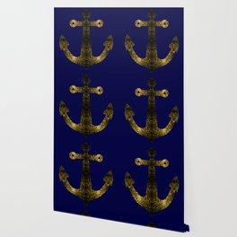 Yellow Gold sparkles Anchor on Dark navy blue Wallpaper