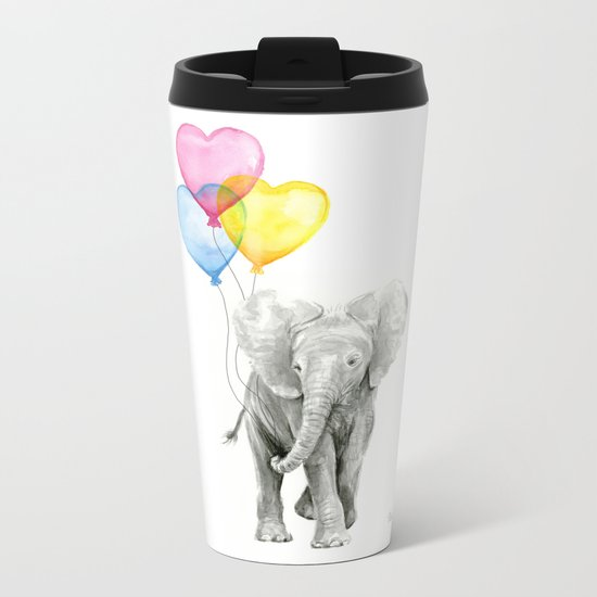 Elephant Watercolor with Balloons Rainbow Hearts Baby Whimsical Animal Nursery Prints Metal Travel Mug