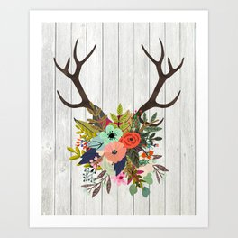 Antlers with Flowers Art Print