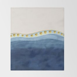 Blue waves and gold strokes Throw Blanket