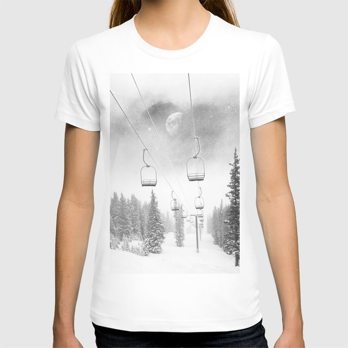 Chairlift Moon Break // Riding the Mountain at Copper Colorado Luna Sky Peeking Foggy Clouds T-shirt